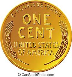 monnaie, cent, blé, une, or, penny, lincoln