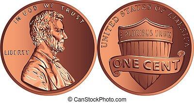 monnaie, cent, penny, argent, vecteur, américain, or, une