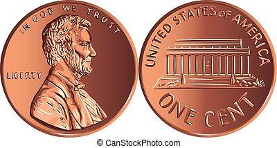 monnaie, cent, une, or, argent, penny, vecteur, américain