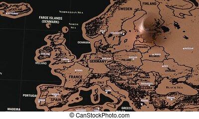 monnaie, dollar, europe, voyage, une, eu, vendange, noir, carte, égratignure