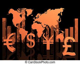 monnaies mondiales, autour de, illustration, commercer