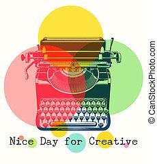 mono, couleurs, machine écrire, retro, affiche