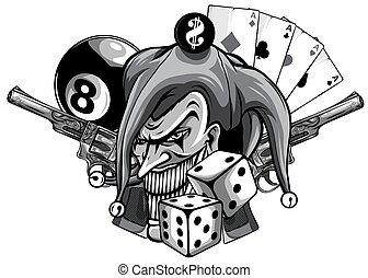 monochromatique, dessiné, clown, illustration, vecteur, fusils, fâché, main, isolated.