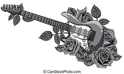 monochromatique, rose., rouges, vecteur, guitare, résumé, illustration