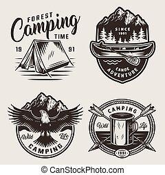 monochrome, étiquettes, camping, été