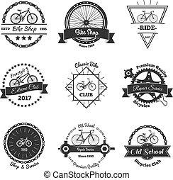 monochrome, emblèmes, vélo, collection
