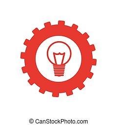 monochrome, engrenage, ampoule, lumière