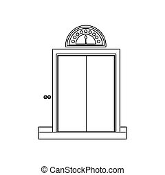 monochrome, porte, fermé, ascenseur, contour