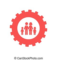 monochrome, uni, engrenage, famille