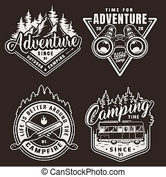 monochrome, vendange, camping, étiquettes