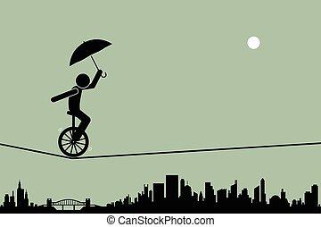 monocycle, corde raide, fil