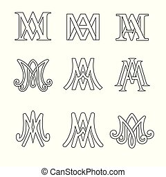 monogram, catholique, set., symboles, ave, religieux, signs., maria