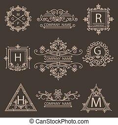 monogram, décoratif, ensemble, emblème, logos