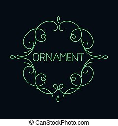 monogram, emblème, linéaire, résumé, main, élégant, gabarit, dessiné, logo, calligraphic, contour