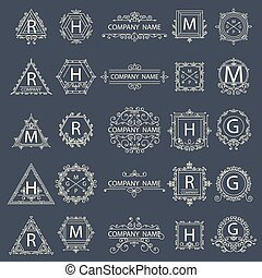 monogram, ensemble, logos, business, compagnie, signe