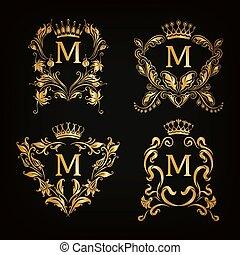 monogram, logos, ensemble