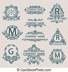 monogram, logos, style, ensemble, business, compagnie, emblèmes