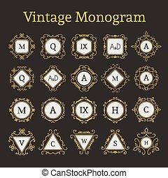 monogram, vendange, ensemble