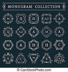 monogram, vendange, vecteur, ensemble