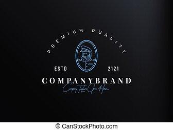 monoline, conception, bearded., gabarit, marin, icône, vecteur, design., marin, illustration, logo, ligne, vendange