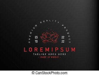 monoline, conception, gabarit, icône, rouges, vecteur, design., lotus., illustration, logo, ligne, flotter, lotus, vendange