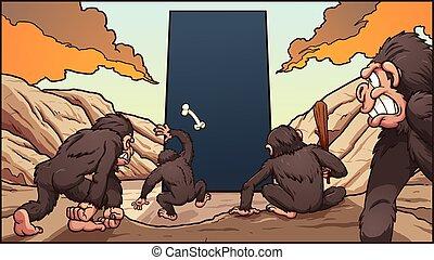 monolithe, singes