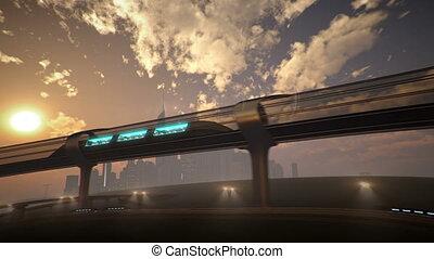 monorail, tunnel., train, illustration, futuriste, 3d
