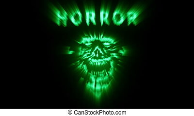 monster., mal, crâne, rire