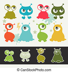 monsters., mignon, peu, dessin animé, collection