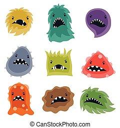 monsters., peu, ensemble, virus, fâché