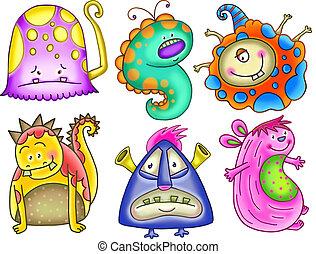 monstre, rigolote, ensemble, dessin animé, mutant, coloré