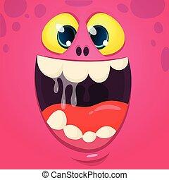 monstre, rire, mouth., dessin animé, illustration, vecteur, grand, figure