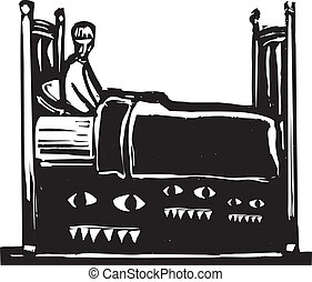 monstres, lit, sous