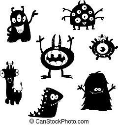 monstres, silhouettes, mignon