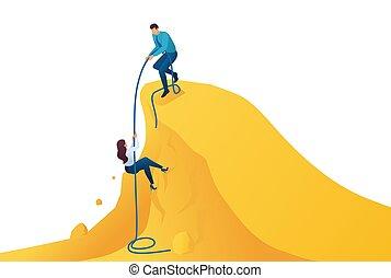 montée, aide, toile, success., conception, accomplissement, mentor, sentier, concept, but, isométrique