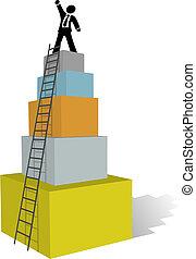 montée, business, échelle, homme, sommet, reussite