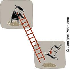 montée, homme affaires, haut, échelle, autre, aide