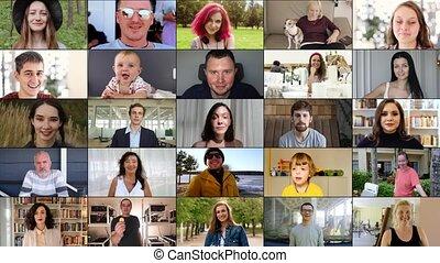 montage, appareil photo, genre, heureux, regarder, ethnicité
