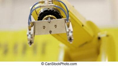 montage, automation., moderne, industriel, produits, bras robotique