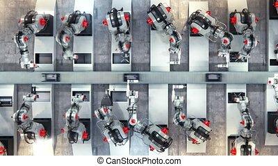montage, bras, 3d, imprimante, ceinture, robotique, convoyeur