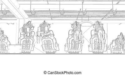 montage, convoyeur, imprimante, robotique, 3d, bras, ceinture