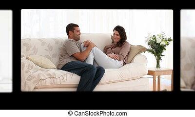montage, couples, avoir, mignon, amusement