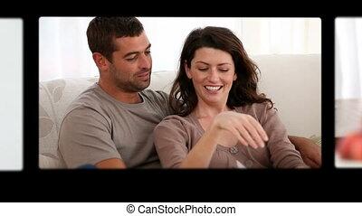 montage, couples heureux