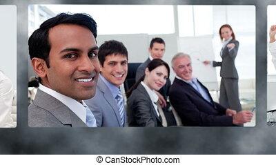 montage, equipe affaires, heureux
