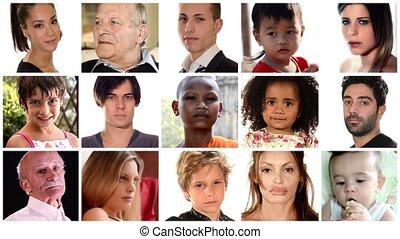 montage, faces