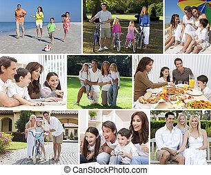 montage, familles heureuses, style de vie, parents, enfants, &
