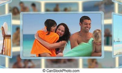 montage, familles, moments, apprécier, couples, plage, ensemble