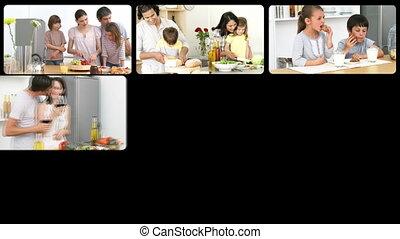 montage, familles, th, caucasien