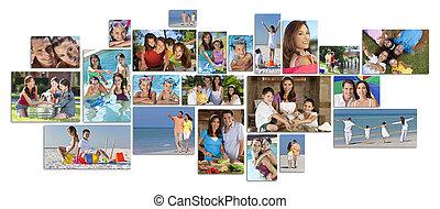 montage, heureux, style de vie, famille, deux, parents, enfants, &