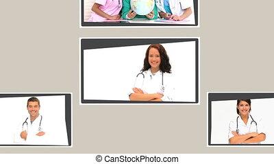 montage, médecins, infirmières